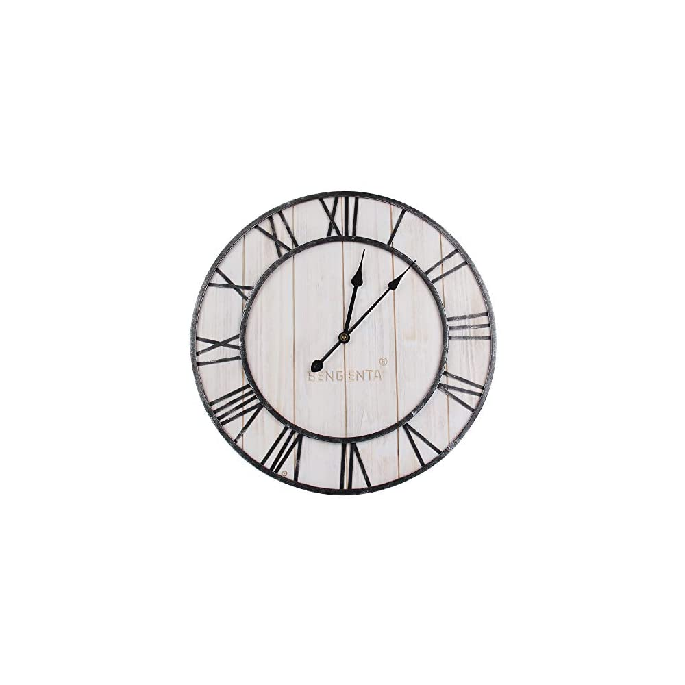 BengentaWooden Farmhouse Wall Clock 18 inch Noiseless Silent Non-Ticking VintageWall Clock - Large 3D Roman Numerals Retro Rustic Country Decorative Luxury for House Warming Gift White