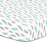 Grey, Turquoise, Metallic Gold Feather Print Fitted Crib Sheet - 100% Cotton Baby Boy and Girl Southwest Theme Nursery and Toddler Bedding