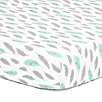 Grey-Turquoise-Metallic-Gold-Feather-Print-Fitted-Crib-Sheet-100-Cotton-Baby-Boy-and-Girl-Southwest-Theme-Nursery-and-Toddler-Bedding
