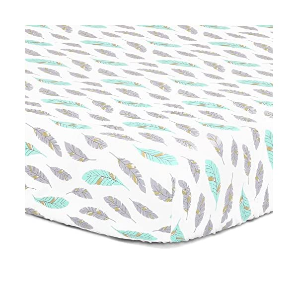 Grey, Turquoise, Metallic Gold Feather Print Fitted Crib Sheet – 100% Cotton Baby Boy and Girl Southwest Theme Nursery and Toddler Bedding