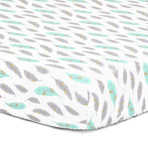 Grey, Turquoise, Metallic Gold Feather Print Fitted Crib Sheet - 100% Cotton Baby Boy and Girl Southwest Theme Nursery and Toddler Bedding ()