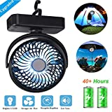 AIVANT Upgraded Camping Lantern Fan, 4400mAh Rechargable Hook-On Picnic LED Lights with Tent Ceiling Fan Outdoor Kits Enhanced Brigtness and Wind Speeds Night Lamps Desktop Fan (Y120 Black)