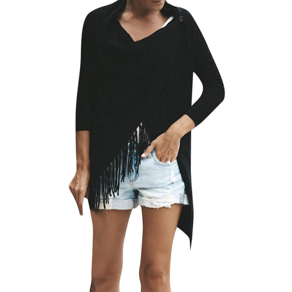 Ropa Mujer Blusa Tops♡♡Fannyfuny♡ moda Baggy Cardigan Abrigo Borla Punto Del Mantó n Botó n Irregular Blusa Chaqueta Color Só lido Sué ter Gran Tamañ o