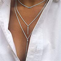 Hunputa Sexy 3 Layers Women Tassel Multilayer Necklace Elegant Chain Jewelry Choker