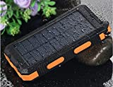POWERNEWS 20000mAh Long Lasting High Capacity Backup External Solar Charger for iPhone, Android, iPad, Tablet, Galaxy, HTC - Dual USB 2.1A 1A for Outdoor Solar Power Bank (Orange)