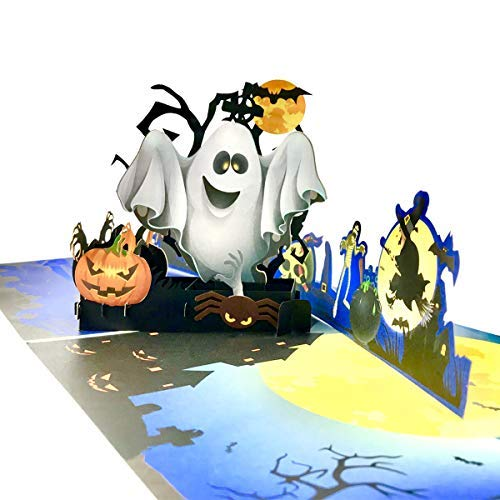 Halloween Cards,3D Pop Up Card Showing Ghost Pumpkin Witch Spider Bat Tombstone Skull Head House Moon Tree best Halloween Greeting Cards for Kids with Envelope and Envelope Glue 1Pack