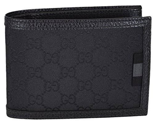 Gucci Men's Smooth Black Canvas Web Tab GG Guccissima Bifold Wallet ()