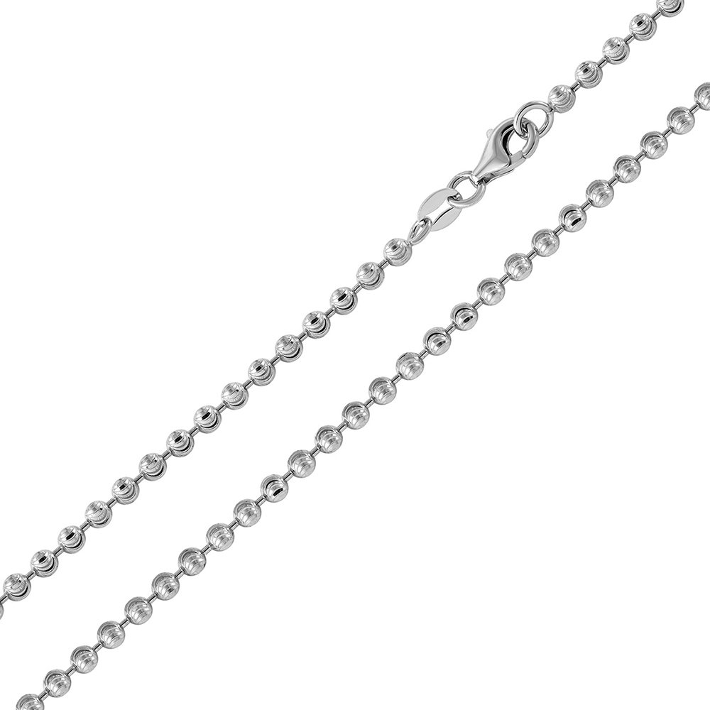 Princess Kylie Rhodium Plated Sterling Silver Wave Designer Diamond Cut Bead 025 Chains 2.3mm
