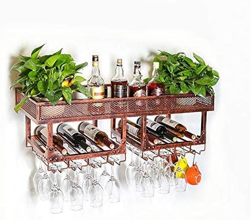 グラスホルダー クリエイティブハンギングカップホルダーホームワイングラスカップホルダーワイングラスを逆さバー鍛造アイアンワインラックラック 戸棚の下 (Color : Brown, Size : 100x35x27cm)