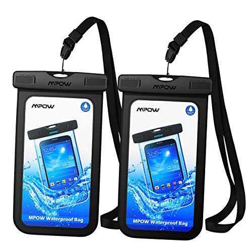 Mpow Universal Waterproof Case, IPX8 Waterproof Phone Pouch Dry Bag Compatible for iPhone Xs Max/Xs/Xr/X/8/8plus/7/7plus/6s/6/6s plus Galaxy s9/s8/s7 Note 9/8 Google Pixel HTC12 (Black 2-Pack) ()