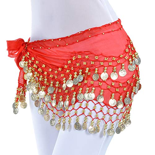 (Uherebuy Chiffon Dangling Gold Coins Belly Dance Hip Skirt Scarf Belt)