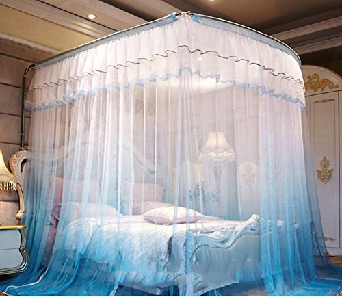 姫ベッドキャノピー,の-形のグラデーションモスキートネット ヨーロッパの裁判所スタイル レース ステンレス鋼サポートが付いている暗号化糸のベッドのカーテン -d