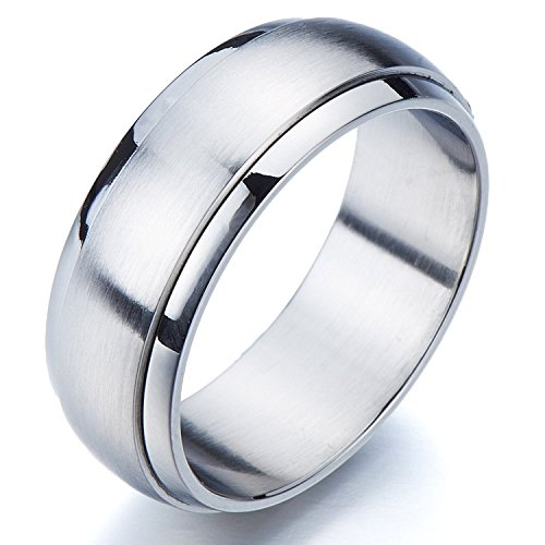 Refined Style Stainless Steel Spinner Unisex Ring Man Ring Comfort Fit 8mm (11a)