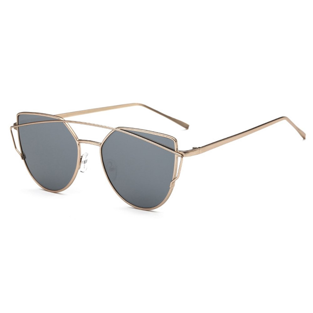MEIHAOWEI Femme Vintage Cat Eye Sunglasses Metal Frames Mirror Shades Color 3 duYNv