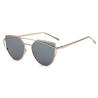 932a65a0e6 Botetrade New Cat Eye Aviator Sunglasses Womens Vintage Fashion Metal Frame  Mirror Sun Glasses Unique Flat Ladies Sunglasses UV400 C8  Amazon.co.uk  ...