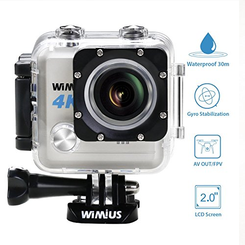 WIMIUS L1 Action Camera 4k Waterproof Wifi Sports Cam Ultra HD DV Camcorder FPV Sony Sensor & Novatek 96660+ Chipset 20MP 2.0' 170°Wide Angle 2 Batteries(Silver) Action Cameras
