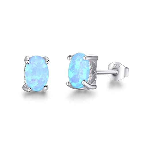6f8eab7d3 Amazon.com: 925 Sterling Silver Stud Earrings For Women Cute 4mm Created  Oval Fire Opal Earrings Fine Jewelry Blue Opal: Jewelry