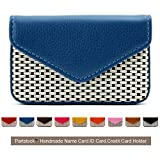 Partstock Multipurpose PU Leather Business Name Card Holder Wallet Leather Credit card ID Case / Holder / Cards Case with Magnetic Shut.Perfect Gift - Blue