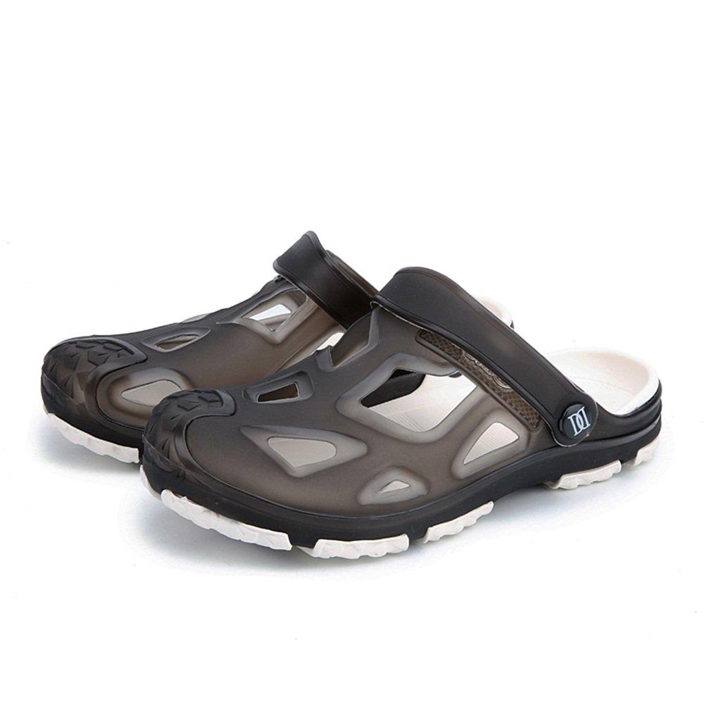 Sandalias para Hombres Mulas Talón Plano Vamp Vamp Slip On Outdoor Trend Sandalias de Playa 45 EU|Negro