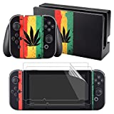 eXtremeRate Leaf with Colors Decals Stickers Full Set Faceplate Skin +2Pcs Screen Protector for Nintendo Switch Console & Joy-con Controller & Dock Protection Kit