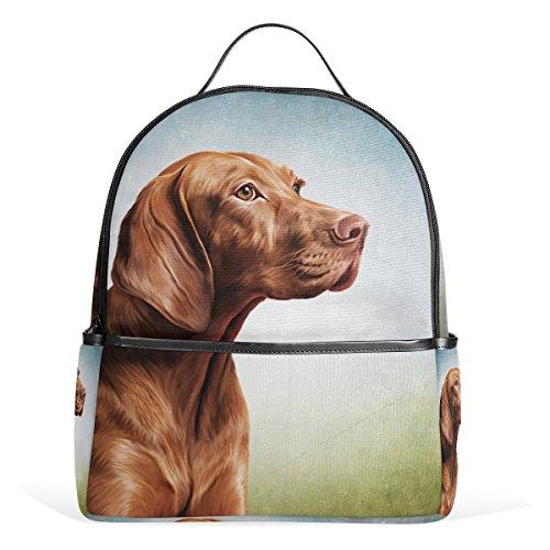 Top Carpenter Vizsla Pointer Dog Portrait School Backpack Daypack Shoulder Bag 12.6x5x14.8in