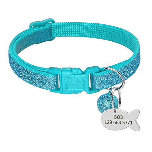 Picture of Beirui Blue Sparkle Nylon Custom Pet ID Dog Cat Collars - Personalized Engrave Stainless Steel Kitten Cat ID Tags - Adjustable Safety Breakaway with Removable Bells