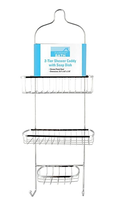 Amazon.com: Euro-Home EW1823 Chrome 2-Tier Shower Caddy W/Soap Dish ...