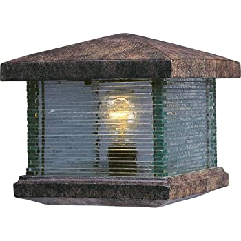 Maxim 48736CLET Triumph VX 1-Light Outdoor Deck Lantern, Earth Tone Finish, Clear Glass, MB Incandescent Incandescent Bulb , 40W Max., Dry Safety Rating, 2900K Color Temp, Standard Dimmable, Glass Shade Material, 4000 Rated Lumens