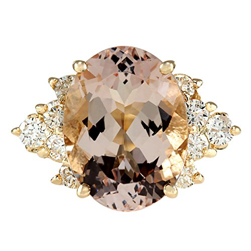 Diamond Gold Cocktail Ring - 5 Carat Natural Pink Morganite and Diamond (F-G Color, VS1-VS2 Clarity) 14K Yellow Gold Cocktail Ring for Women Exclusively Handcrafted in USA