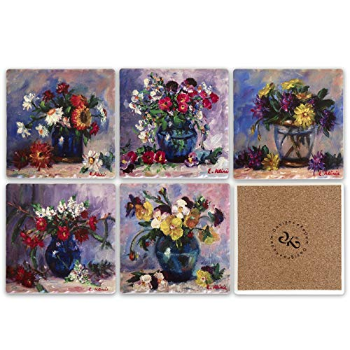 Floral Ceramic Tile Coaster for Drinks Set of 6, 4 x 4 inches - Square Table Coasters for Drinks with Cork Backing, Stain Resistant, Sweat Proof, Decorative Drink Coasters (Floral) ()