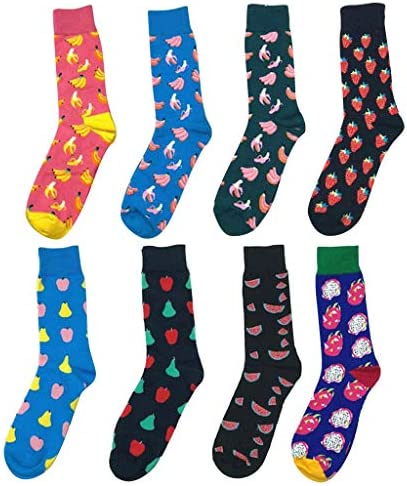 8 Pair Adult Novelty Crew Socks Colorful Fruit Pattern Combed Cotton Dress Socks Cushion Moisturizing Socks Seamless Toe Casual Sports Tube Sock for Men Women / 8 Pair Adult Novelty Crew Socks Colorful Fruit Pattern Combed Cotton D...