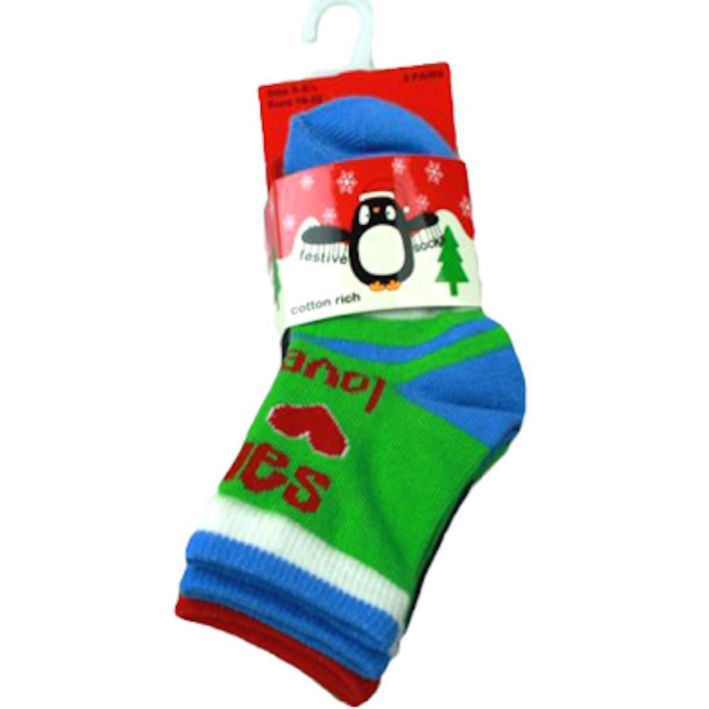 Baby Boys Cotton Rich 3 pack Christmas Design socks. (3-5.5, Faces) Various