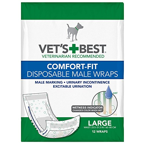 - Vet's Best Comfort Fit Disposable Male Dog Diapers | Absorbent Male Wraps with Leak Proof Fit | Large, 12 Count
