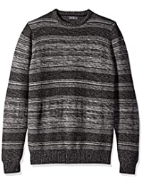 Men's Long Sleeve Marled Mixed Stitch Crew Sweater