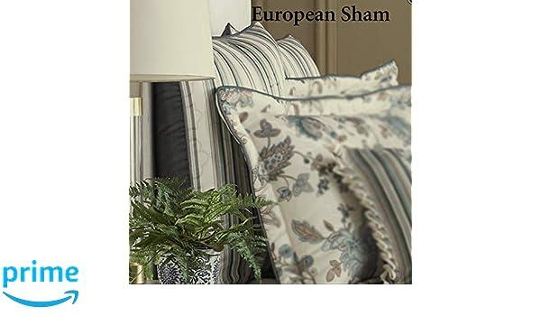 J Queen New York Adrianna Euro Sham Taupe Teal Cream Striped New