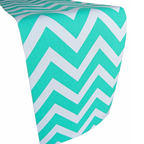 Deluxe Lined Table Runner From Crabtree Collection: Thick Cotton Table Cover With Turquoise Chevron Pattern, Bright Colors For Kitchens And Dining Rooms - Soft And Strong Cotton (12x72)