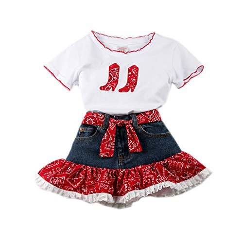 Girls' Red Bandana Skirt Set