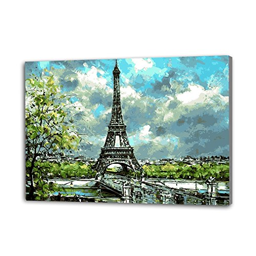 Aviya Art Diy Oil Painting, paint By Number Kits-Eiffel tower 16×20 inches