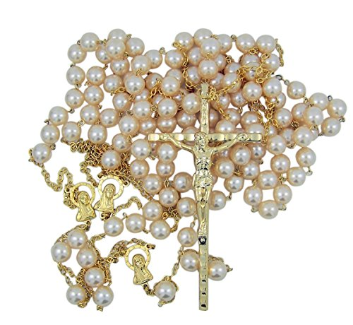Gold Toned Wedding Lasso Rosary with Acrylic Prayer Bead for Married Couple, 33 Inch