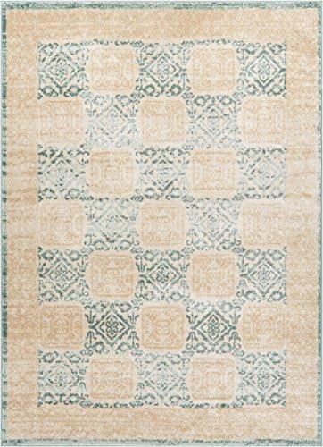 Well Woven Giovane Blue Modern Panel 8×11 7 10 x 10 6 Area Rug Mint Beige Ivory Vintage Floral Mediterranean Tile Carpet