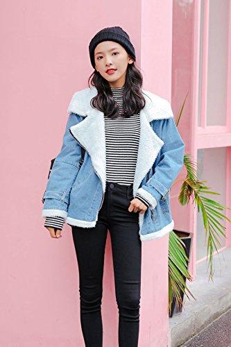 2018 Winter new lambs wool denim jacket female Korean wide prednisone plus velvet thick warm coat for women girl