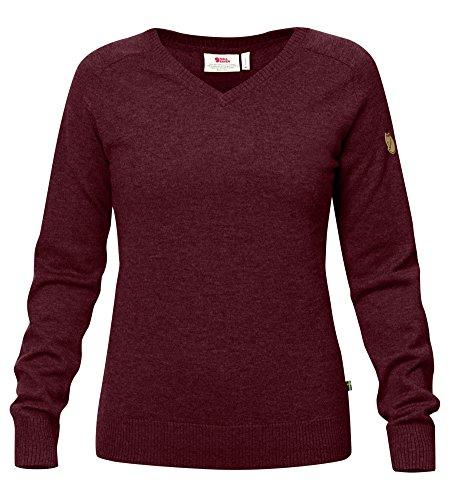 Fjallraven Women's Sormland V-Neck Sweater, Dark Garnet, L
