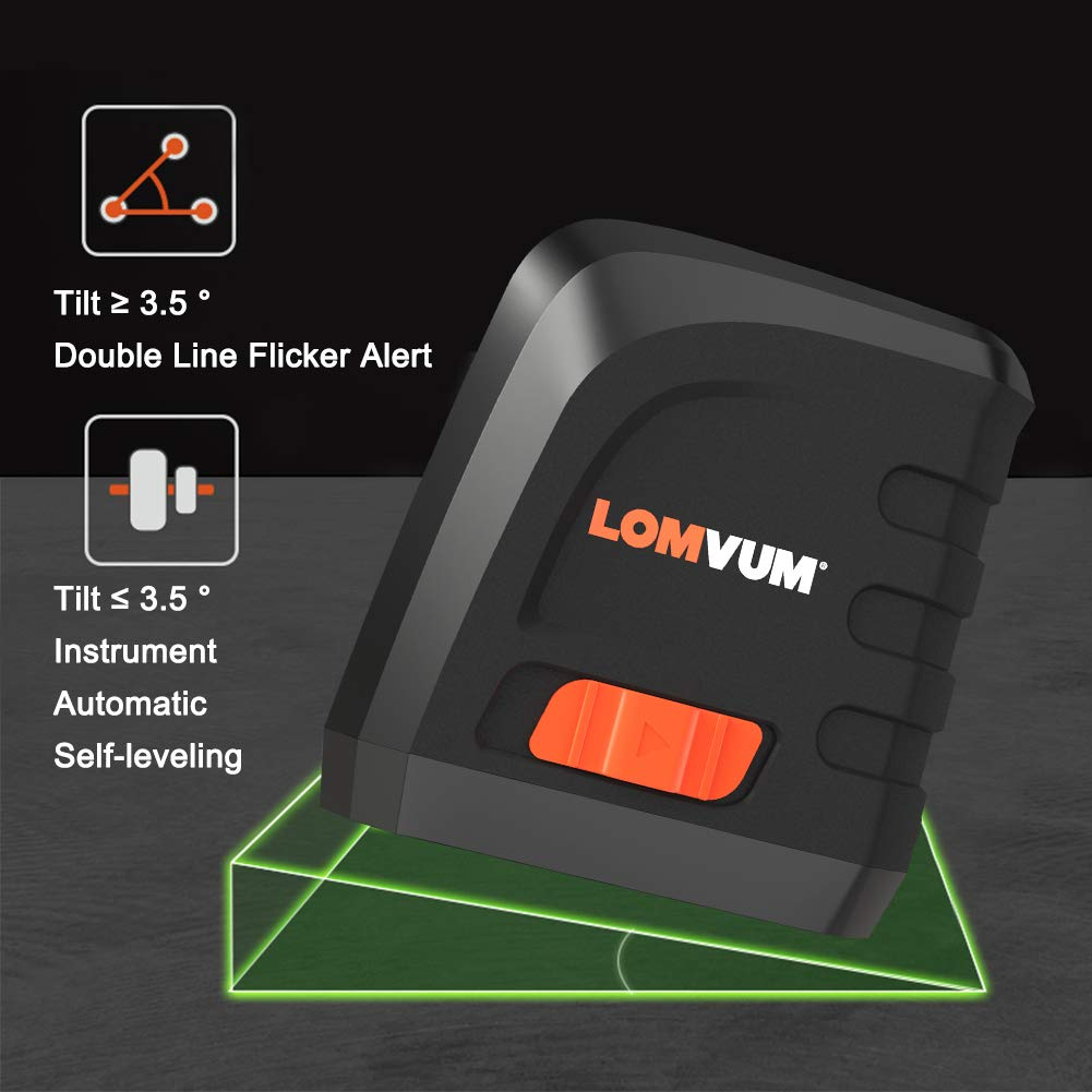 LOMVUM 100ft Green Cross-Line Laser Self-Leveling Vertical and Horizontal Line Laser Level Battery Included Rotatable 360 Degree with Flexible Magnetic Base