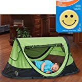 KidCo PeaPod Plus Portable Travel Bed - Kiwi with Happy Face Night Light