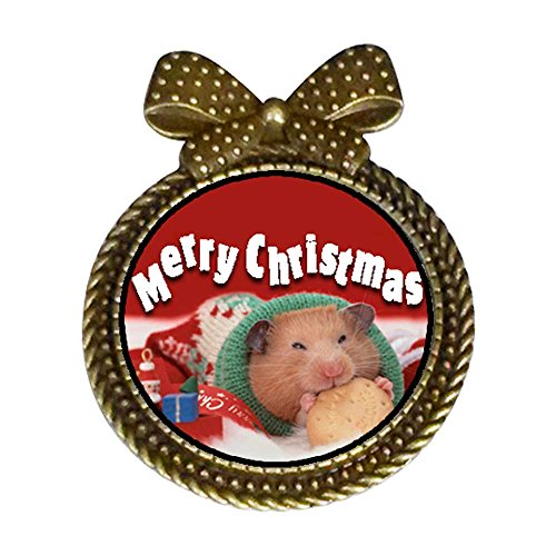 ent Style Christmas Hamster with Cookie Round with Bowknot Pins Brooches #9 ()