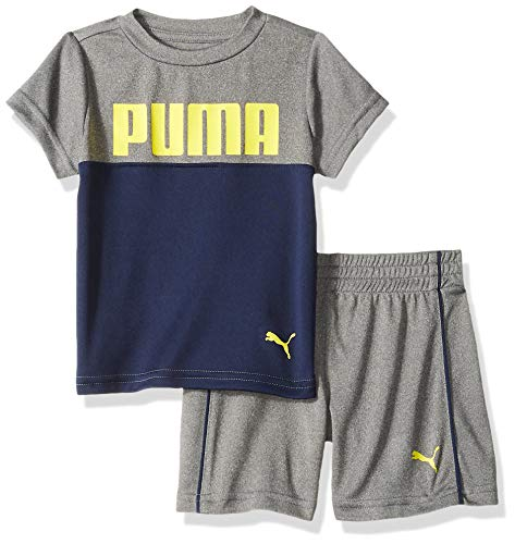 PUMA Baby Boys' T-Shirt & Short Set, Coal Heather Grey 12 Months