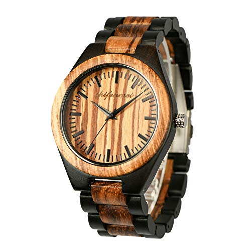 en, shifenmei Natural Handmade Analog Quartz Wooden Watches Japanese Movement and Battery Adjustable Wood Strap Lightweight Wooden Wrist Watch with Exquisite Box (Zebra Ebony Wood) ()