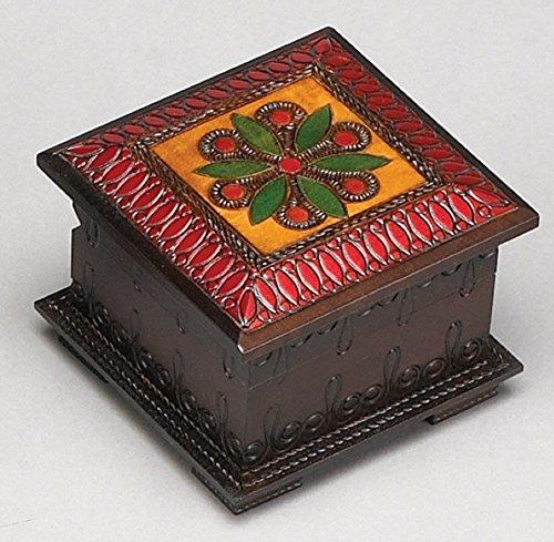 - Polish Handmade Wood Jewelry Domed Cube Box Floral Pattern Keepsake Box