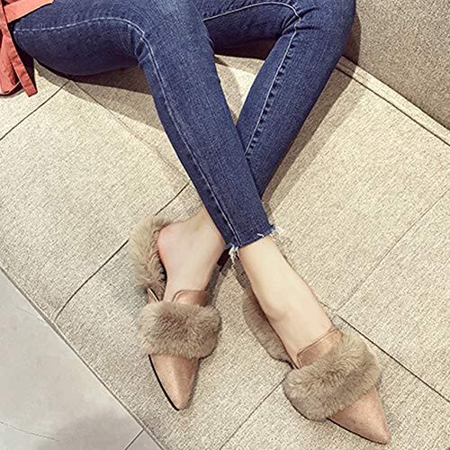 Et Élégante Brown Taille Élevée D'hiver Plat 1 L'extérieur Standard Solide Pois Femme Chaussures Coréenne Couleur Version Cm Automne À En Td Fourrure Porter XTwpaBFx
