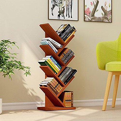 Jerry & Maggie 7 Tier Shelf Display Organizer Sloped Storage Wood Closet Multi Units Deluxe Free Stand Shelving Shelves Rack - Arrow Shaped | Dark Natural Wood Tone